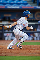 St. Lucie Mets left fielder Gene Cone (9) follows through on a swing during the first game of a doubleheader against the Charlotte Stone Crabs on April 24, 2018 at First Data Field in Port St. Lucie, Florida.  St. Lucie defeated Charlotte 5-3.  (Mike Janes/Four Seam Images)