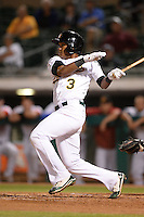 Mesa Solar Sox shortstop Addison Russell (3), of the Oakland Athletics organization, during an Arizona Fall League game against the Peoria Javelinas on October 17, 2013 at HoHoKam Park in Mesa, Arizona.  Mesa defeated Peoria 6-1.  (Mike Janes/Four Seam Images)