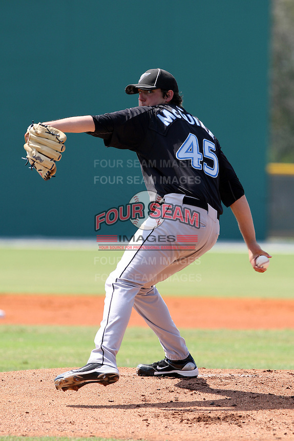 Toronto Blue Jays minor league pitcher Deck McGuire (45) vs. the Pittsburgh Pirates during an Instructional League game at Pirate City in Bradenton, Florida;  October 11, 2010.  McGuire was selected in the 1st round of the 2010 MLB draft, 11th overall, out of Georgia Tech.  Photo By Mike Janes/Four Seam Images