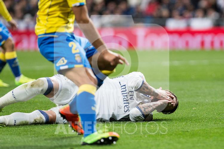 Sergio Ramos  of Real Madrid seen red card during the match of Spanish La Liga between Real Madrid and UD Las Palmas at  Santiago Bernabeu Stadium in Madrid, Spain. March 01, 2017. (ALTERPHOTOS / Rodrigo Jimenez)