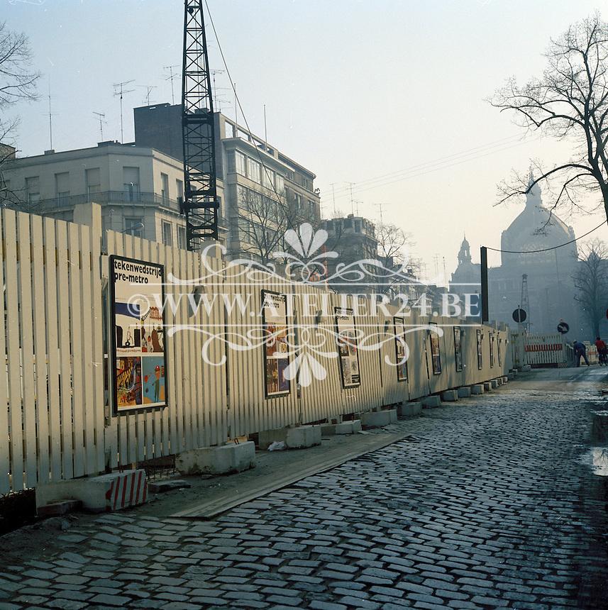 April 1973. Werken aan de de Keyserlei in Antwerpen.