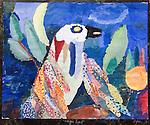 Painting 'Magic Bird', by Homer Sykes age 10 yrs The Downs School Colwall. Art master James Lynch.  Magic Bird.