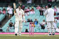 8th January 2021; Sydney Cricket Ground, Sydney, New South Wales, Australia; International Test Cricket, Third Test Day Two, Australia versus India; Steve Smith of Australia celebrates scoring a half century
