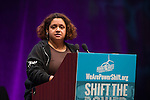 Kimberly Wasserman, Senior Advisor of Little Village Environmental Justice Organization speaks at Powershift. Over six thousand young people from all over the country are converging in Pittsburgh, PA for Power Shift 2013, a massive training dedicated to bringing about a safe planet and a just future for all people. (Photo by: Robert van Waarden)