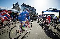 Jérôme Baugnies (BEL/Wanty-Groupe Gobert) kicking off his Spring Classics season under a clear blue sky<br /> <br /> Omloop Het Nieuwsblad 2015