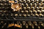 Dusty and rare wine bottles in the unique wine cellar of the Dom Sebastio restaurant in Lagos, Algarve, Portugal.
