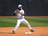 IMG Academy Ascenders second baseman Stone Russell (13) attempts to turn a double play during a game against the Calvary Christian Academy Eagles on March 13, 2021 at IMG Academy in Bradenton, Florida.  (Mike Janes/Four Seam Images)