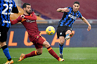 Achraf Hakimi of FC Internazionale scores the goal of 1-2 during the Serie A football match between AS Roma and FC Internazionale at Olimpico stadium in Roma (Italy), January 10th, 2021. Photo Andrea Staccioli / Insidefoto