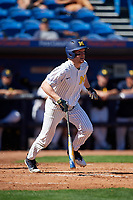Michigan Wolverines left fielder Miles Lewis (3) at bat during a game against Army West Point on February 18, 2018 at Tradition Field in St. Lucie, Florida.  Michigan defeated Army 7-3.  (Mike Janes/Four Seam Images)