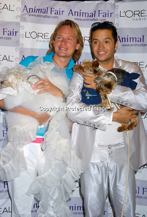 """Jai Rodriguez,  Lucky Diamond and Nemo and Dory ..at Animal Fair's fifth Annual """" Paws for Style"""" fashion show to celebrate the 100th year anniversary of the Humane society of New York. The event was on May 24, 2004 at ..Club Black...Photo by Robin Platzer, Twin Images"""