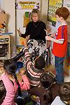 Elementary school classroom Grade 1 group of students with female teacher
