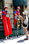 """The Cornelia Street Cafe celebrates the anniversary of its founding every year on July 4th .  This year was its 33rd """"birthday"""" and to set the tone, The Shinbone Alley Stilt Band played for them, their gursts and passers by - in a 95 F degree New York summer heat wave!  http://www.bondst.org/activities/?c=Stilt-Band"""