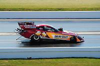 Apr. 29, 2011; Baytown, TX, USA: NHRA funny car driver Melanie Troxel during qualifying for the Spring Nationals at Royal Purple Raceway. Mandatory Credit: Mark J. Rebilas-