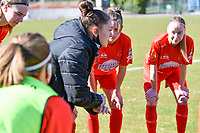 Head coach Audrey Demoustier of Woluwe pictured during a female soccer game between FC Femina White Star Woluwe and KRC Genk on the 17 th matchday of the 2020 - 2021 season of Belgian Scooore Womens Super League , Saturday 20 th of March 2021  in Woluwe , Belgium . PHOTO SPORTPIX.BE | SPP | JILL DELSAUX