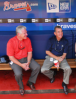 29 March 2008: General Manager Frank Wren, left, and President John Schuerholz of the Atlanta Braves prior to an exhibition game against the Cleveland Indians at Turner Field in Atlanta, Ga.   Photo by: Tom Priddy/Four Seam Images