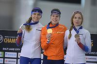 SPEEDSKATING: 16-02-2020, Utah Olympic Oval, ISU World Single Distances Speed Skating Championship, Podium 1500m Ladies, Evgeniia Lalenkova (RUS), Ireen Wüst (NED), Elizaveta Kazelina (RUS), ©photo Martin de Jong