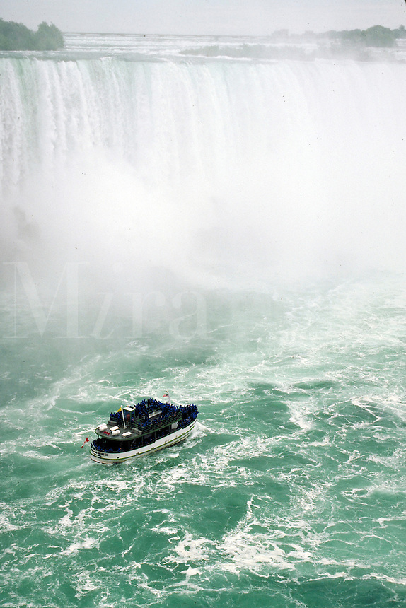 """MAID OF THE MIST"""""""", FAMOUS AQUATIC TOUR TO THE BASE OF THE FALLS. BOAT, CRUISE, TOURISM, WATER.. NIAGARA FALLS ONTARIO CANADA."""