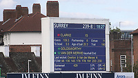 The scoreboard at close of play during Surrey CCC vs Somerset CCC, LV Insurance County Championship Group 2 Cricket at the Kia Oval on 13th July 2021