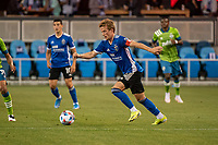 SAN JOSE, CA - MAY 12: Jackson Yueill #14 of the San Jose Earthquakes dribbles the ball during a game between San Jose Earthquakes and Seattle Sounders FC at PayPal Park on May 12, 2021 in San Jose, California.