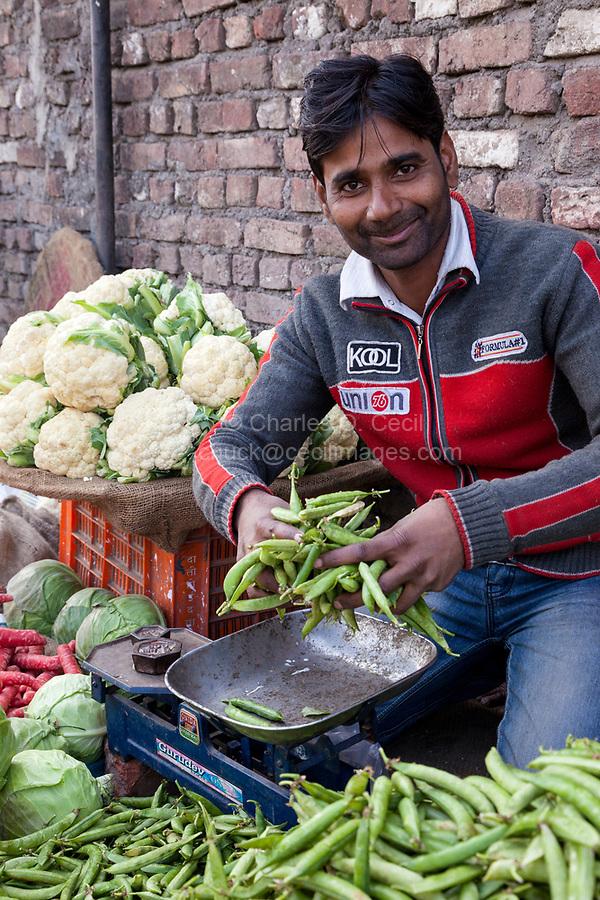India, Dehradun.  Man Selling Vegetables in Streetside Market.
