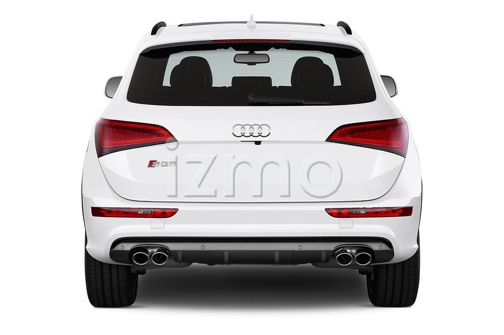 Straight rear view of 2015 Audi SQ5 quattro tiptronic Premium 5 Door SUV stock images