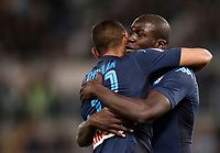 Calcio, Serie A: Roma, stadio Olimpico, 20 settembre 2017.<br /> Napoli's Kalidou Koulibaly (r) celebrates after scoring with his teammate Faouzi Ghoulam (l) uring the Italian Serie A football match between Lazio and Napoli at Rome's Olympic stadium, September 20, 2017.<br /> UPDATE IMAGES PRESS/Isabella Bonotto