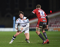 12th February 2021; Kingsholm Stadium, Gloucester, Gloucestershire, England; English Premiership Rugby, Gloucester versus Bristol Bears; Jamie Gibson of Gloucester prepares to tackle Piers O'Conor of Bristol Bears