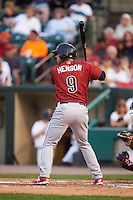 Lehigh Valley IronPigs outfielder Tyler Henson (9) at bat during a game against the Rochester Red Wings on July 4, 2015 at Frontier Field in Rochester, New York.  Lehigh Valley defeated Rochester 4-3.  (Mike Janes/Four Seam Images)