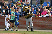 Asheville Tourists mascot  Ted E Tourists #00 shoots t-shirts into the crowd during a game against the Kannapolis Intimidators at McCormick Field on June 7, 2014 in Asheville, North Carolina. The Tourists defeated the Intimidators 7-5. (Tony Farlow/Four Seam Images)