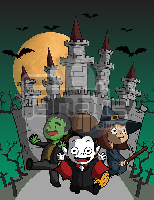Illustration of kids in Halloween outfit flying against castle
