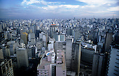 Sao Paulo, Brazil. Oblique aerial view of the high-rise centre of the city.