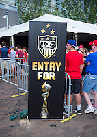 Pittsburgh, PA - August 15, 2015:  Fan HQ stands outside Heinz Field before the start of the match against Costa Rica.