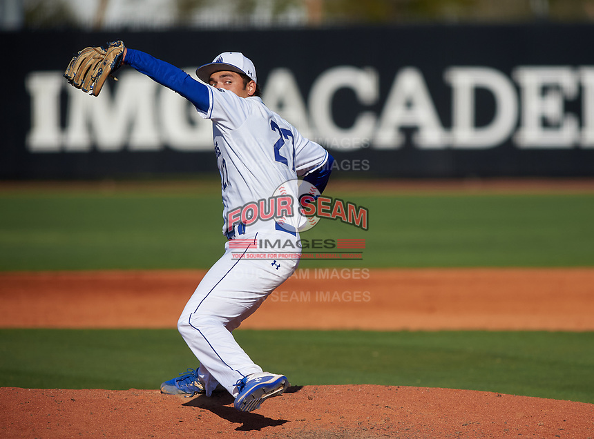 IMG Academy Ascenders pitcher Ben Waxler (27) during a game against the Victory Charter School Knights on February 28, 2020 at IMG Academy in Bradenton, Florida.  (Mike Janes/Four Seam Images)