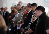 """Pictured: Some of the poeple attending the service Wednesday 31 May 2017<br /> Re: The funeral for former first minister Rhodri Morgan has taken place in the Senedd in Cardiff Bay.<br /> The ceremony, which was open to the public, was conducted by humanist celebrant Lorraine Barrett.<br /> She said the event was """"a celebration of his life through words, poetry and music"""".<br /> Mr Morgan, who died earlier in May aged 77, served as the Welsh Assembly's first minister from 2000 to 2009.<br /> He was credited with bringing stability to the fledgling assembly during his years in charge.<br /> It is understood Mr Morgan had been out cycling near his home when he died."""