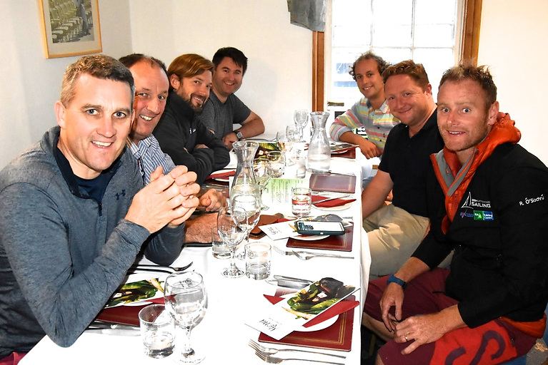 The Last Supper…..the crew of Desert Star having a restrained and sensible meal in Cowes the night before the Fastnet Race – skipper Ronan O Siochru on right.