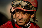 ARCADIA, CA - APRIL 07:  Mike Smith after winning his 3rd stakes on the Santa Anita Derby Day at Santa Anita Park on April 07, 2018 in Arcadia, California.(Photo by Alex Evers/Eclipse Sportswire/Getty Images)