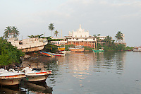 Ketchimale Mosque sits on a rise overlooking Beruwala fishing harbour near Bentota, Sri Lanka