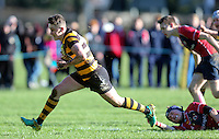 Saturday 4th February 2017 | RBAI vs BALLYCLARE HIGH SCHOOL<br /> <br /> Niall Armstrong scores during the Ulster Schools' Cup clash between RBAI and Ballyclare High School at  Cranmore Park, Belfast, Northern Ireland.<br /> <br /> Photograph by www.dicksondigital.com