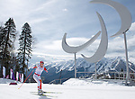 Sochi, RUSSIA - Mar 16 2014 - Brittany Hudak competes in Cross Country Skiing Women's 5km Standing at the 2014 Paralympic Winter Games in Sochi, Russia.  (Photo: Matthew Murnaghan/Canadian Paralympic Committee)