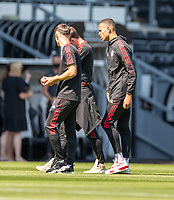 18th July 2021; Pride Park, Derby, East Midlands; Pre Season Friendly Football, Derby County versus Manchester United;  Mason Greenwood of Manchester United (Right) inspects the playing surface