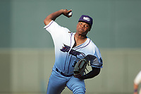 Winston-Salem Dash relief pitcher Luis Ledo (39) in action against the Carolina Mudcats at BB&T Ballpark on June 1, 2019 in Winston-Salem, North Carolina. The Mudcats defeated the Dash 6-3 in game one of a double header. (Brian Westerholt/Four Seam Images)