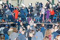 Media work after Democratic presidential candidate and former South Bend, Ind., mayor Pete Buttigieg's Primary Night rally at Nashua Community College in Nashua, New Hampshire, on Tue., Feb. 11, 2020. Democratic presidential candidate and Vermont senator Bernie Sanders was projected to win the New Hampshire Democratic Primary, but Buttigieg came in a close second.