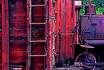 Classic train photo.  Freight car of antique steam railroad in Snoqualmie Valley, near Seattle, Washington.