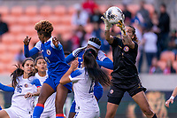 HOUSTON, TX - JANUARY 31: Noelia Bermudez #1 of Costa Rica makes a save during a game between Haiti and Costa Rica at BBVA Stadium on January 31, 2020 in Houston, Texas.