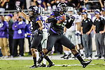 TCU Horned Frogs defensive end Devonte Fields (95) recovers a fumble during the game between the Kansas State Wildcats and the TCU Horned Frogs  at the Amon G. Carter Stadium in Fort Worth, Texas. Kansas State defeats TCU 23 to 10...