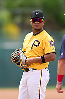 FCL Pirates Gold first baseman Gustavo Polanco (35) during a game against the FCL Red Sox on July 1, 2021 at Pirate City in Bradenton, Florida.  (Mike Janes/Four Seam Images)