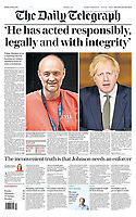 Daily Telegraph newspaper Front page reporting on Prime Minister's TV Address to the Nation. May 25th 2020