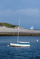 Picturesque sailboat anchored at Harborview Beach, Dennis, Cape Cod, Massachusetts, USA.