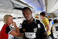 Photo: Richard Lane/Richard Lane Photography. London Wasps in Abu Dhabi for their LV= Cup game against Harlequins on 30th January 2011. 01/02/2011. Wasps' Christian Wade onboard the flight back to the UK.