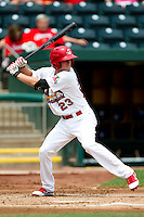 Ryan Jackson (23) of the Springfield Cardinals at bat during a game against the Tulsa Drillers at Hammons Field on June 27, 2011 in Springfield, Missouri. (David Welker / Four Seam Images)